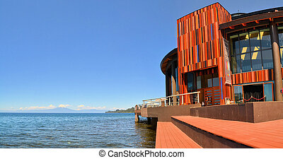 Lake Theater with volcano Osorno in Patagonia - Teatro del...