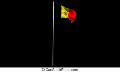 Belgium national flag waving on flagpole on black background