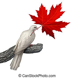 Canada Peace - Canada peace concept as a white dove holding...