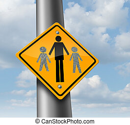 Child Custody - Child custody loss concept as a traffic sign...