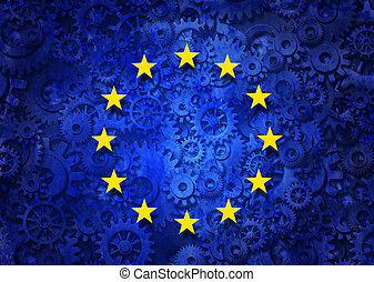 European Business - European business concept as a group of...