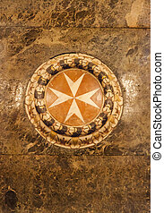 Maltese cross - Marble made Maltese cross in a church, Malta