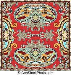 Traditional ornamental floral paisley bandanna. Square...