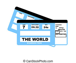 The World flight boarding pass - Boarding pass airline...