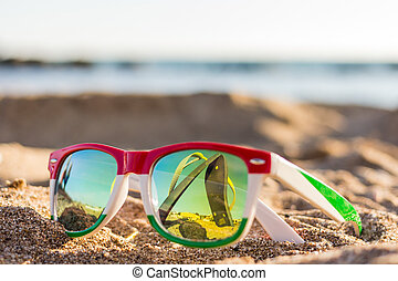 Glasses - The reflection of the holiday and relaxation