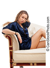 Beautiful young sexy woman sitting on chair - Beautiful...