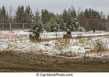 Motocross. - Circuit race on a motorcycle with a sidecar.