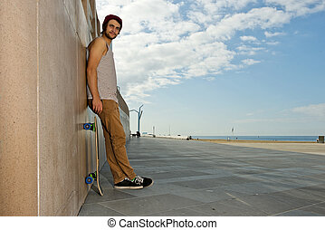 Carefree skateboarder - Young, carefree, skateboarder guy,...