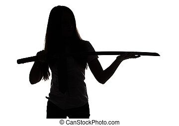Silhouette of woman looking at blade on white background