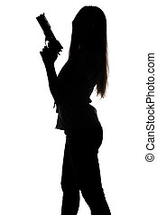 Silhouette of young woman with gun on white background