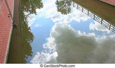 Sky and clouds reflection in water near the building