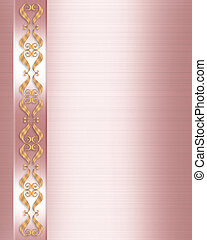 Wedding Invitation Elegant Pink - 3D gold scroll accents...