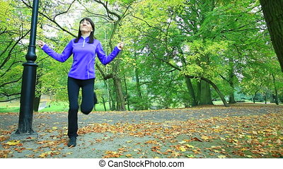Woman doing exercise with jump rope - Healthy active...