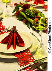 Red napkins on christmas table