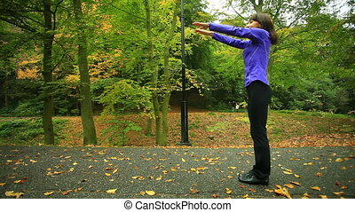 Fitness woman doing exercise outdoors - active, activity,...
