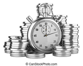 Time is money - 3d illustration of stopwatch and silver...