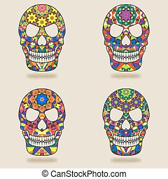 skull with kaleidoscope pattern - vector illustration eps 10...