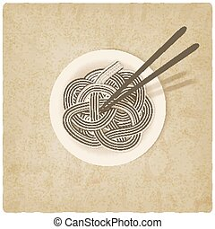 noodles on plate old background - vector illustration eps 10...