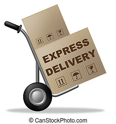 Express Delivery Represents Fast Track And Container -...