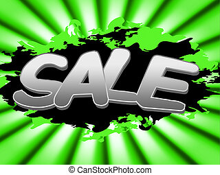 Sale Sign Shows Discount Advertisement And Promotion - Sale...