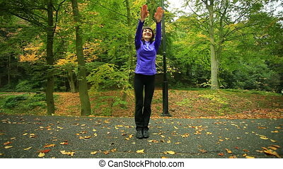 Fitness woman doing exercise outdoo - Healthy active...