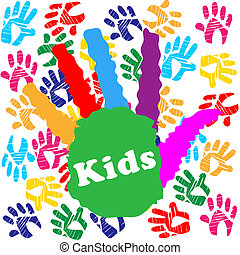 Kids Handprint Indicates Colourful Children And Human