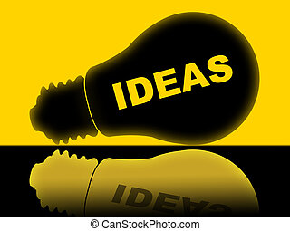 Ideas Lightbulb Indicates Bright Conception And Innovations...