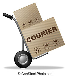 Courier Package Represents Shipping Box And Parcel - Courier...