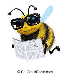 3d Bee news - 3d render of a honey bee reading a newspaper