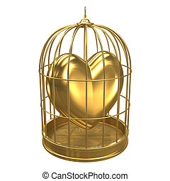 3d Gold heart in a bird cage - 3d render of a birdcage...