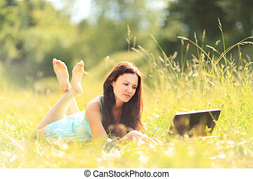 girl with laptop outdoors - Beauty girl with laptop outdoors...