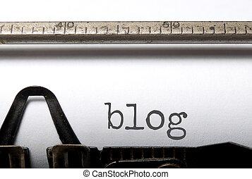 Blog printed on an old typewriter