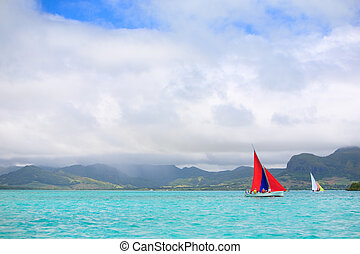 Regatta - Sailing regatta in Mauritius on colorful...