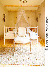 Interior of bedroom Canopy bed and retro chair - Interior of...
