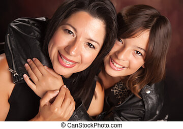 Attractive Hispanic Mother and Daughter - Attractive...