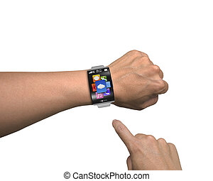 man finger point app icons of smartwatch with curved screen...