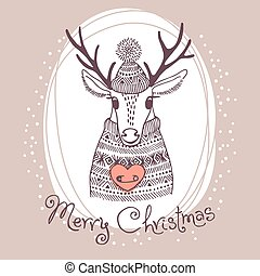 Hand drawn vector illustration with cute deer. Merry Christmas card