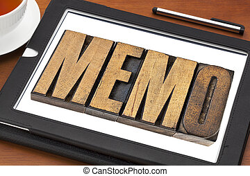memo word on tablet - memo word in letterpress wood type on...