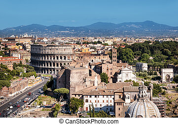 Rome Skyline - Ariel view of Rome: including the Colosseum...