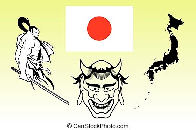 japanese icon - Japanese warriors, flag, map and ghost...
