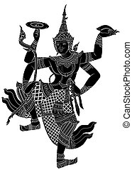 Drawing of Narayana silhouetted on white background -...