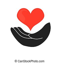 hand heart design - hand heart graphic design , vector...
