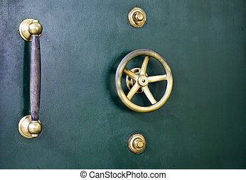 Vault door detail - Detail of antique vault door of bank...