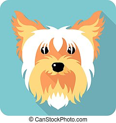 dog icon flat design - dog Yorkshire terrier icon flat...