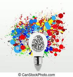 Creativity 3d metal human brain in visible light bulb with...