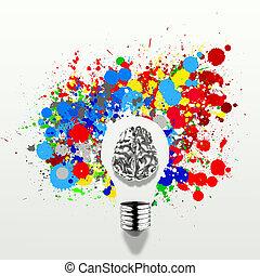 creatividad, 3D, metal, humano, cerebro, en, visible, luz,...