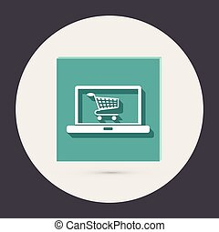 laptop with symbol shopping cart