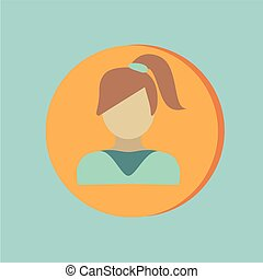 A female avatar girl with hair tail Avatar of a woman with...