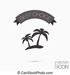 island icons. symbol of the island with palm trees. icon holiday