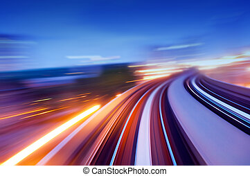 speedway. - Abstract view on elevated highway, speeding...